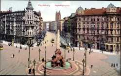 Postcard Magdeburg in Sachsen Anhalt, Blick auf den Hasselbachplatz, Brunnen