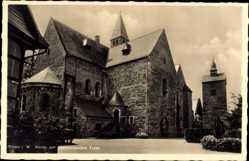 Postcard Enger im Kreis Herford Westfalen, Blick auf Kirche mit alleinstehendem Turm