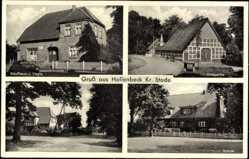 Postcard Hollenbeck Harsefeld im Kreis Stade, Kaufhaus J. Vagts, Schule, Hauptstraße