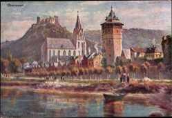 Künstler Ak Oberwesel im Rhein Hunsrück Kreis, Flusspartie, Ruine, Turm