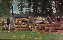 Ak 13 Res. Div. bei Avincourt am Aisnekanal, Sägewerk, Holz für Unterstände