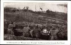 Ak Im Schützengraben am Wigrysee unweit Krasnopol, Brennendes Dorf Tartak