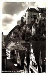 Postcard Heidenheim, Wohnhäuser in der Hinteren Gasse, Burg, Felsmassiv, Stadtansicht