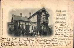 Postcard Glücksburg an der Ostsee, Pensionat Strandeck, Terrasse, Balkon, Besucher