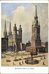 Künstler Ak Wessner Collenbey, Halle an der Saale, Blick auf den Marktplatz