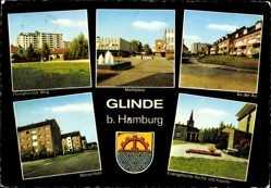 Postcard Glinde, Stadtansichten, Havighorster Weg, Marktplatz, An der Au, Wiesenfeld
