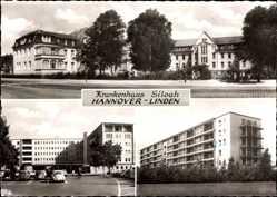Postcard Linden Hannover, Blick auf das Krankenhaus Siloah, Straßenpartie