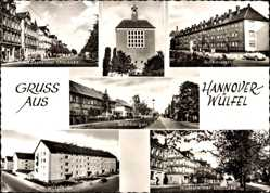 Postcard Wülfel Hannover, Stadtansichten, Chaussee, Kirche, Wölpefelde, Bothmerstraße