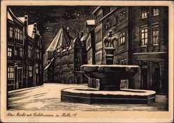 Künstler Ak Halle an der Saale, Alter Markt mit Eselsbrunnen, Winter, Nacht