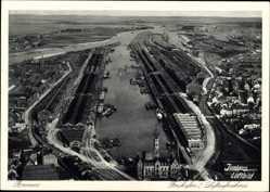 Postcard Hansestadt Bremen, Blick auf den Freihafen I, Fliegeraufnahme