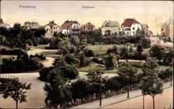 Postcard Flensburg in Schleswig Holstein, Blick in den Stadtpark, Häuser, Straßen