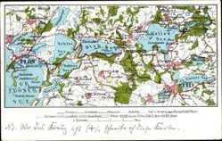 Landkarten Ak Plön am See Schleswig Holstein, Malente, Eutin, Bosdorf, Grebin