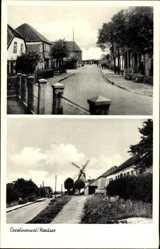 Postcard Carolineninsel Wittmund an der Nordsee, Stadtansichten, Windmühle, Straße
