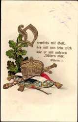 Postcard Vorwärts mit Gott, der mit uns sein wird, Patriotik, Kaiserreich