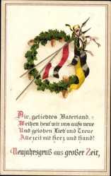 Postcard Glückwunsch Neujahr, Fahnen, Patriotik, Eichenlaub, Österreich, Kaiserreich