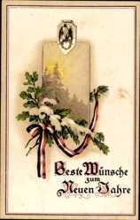 Postcard Glückwunsch Neujahr, Patriotik, Eichenlaub, Schnee