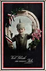 Postcard Glückwunsch Neujahr, Junge in Uniform, Hufeisen, Patriotik, RKL 2699 1