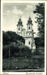 Postcard Tihany Ungarn, Az apátsági templom, Außenansicht der Kirche