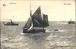 Ak Westende Westflandern Belgien, Au Large, Segelboot, Dampfschiffe