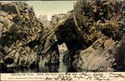 Postcard Kullen Schweden, Porten fran vestra sidan, Felsen, Gewässer