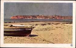 Ak Helgoland in Schleswig Holstein, von der Düne aus, kleines Boot