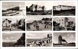 Postcard Westerland auf Sylt, Inselbahn, Hindenburgdamm, Kurpromenade, Kirche