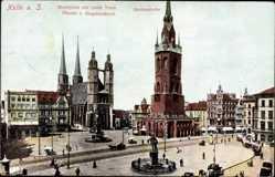 Postcard Halle an der Saale, Marktplatz mit rotem Turm, Händeldenkmal, Marienkirche