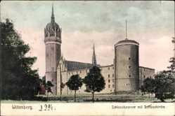 Postcard Lutherstadt Wittenberg in Sachsen Anhalt, Schlosskaserne mit Schlosskirche