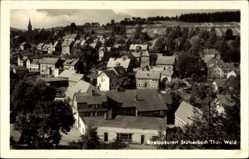 Postcard Stützerbach im Ilm Kreis Thüringen, Gesamtansicht, Kirchturm, Felder