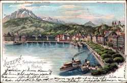 Künstler Litho Steinmann, C., Luzern Stadt Schweiz, Schweizerhofquai und Pilatus