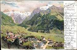 Künstler Litho Steinmann, C., Engelberg Kt. Obwalden, Ortsansicht, Alpenpanorama
