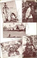 Ansichtskarte / Postkarte Papua Neuguinea, Met Pater Vertenten bij de koppensnellers, Missionarissen