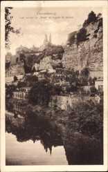 Postcard Luxemburg, Les rochers du Bock et l'église St. Michel