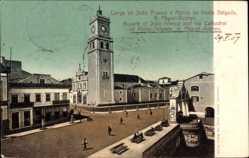 Postcard S. Miguel Azores Portugal, Square Joao Franco, Cathedral of Ponta Delgada