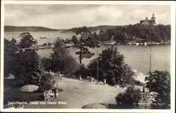 Postcard Saltsjöbaden Schweden, Utsikt fran Grand Hotel, See