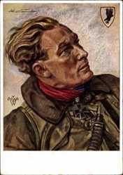 Künstler Ak Willrich, Hauptmann Baumbach, Fernkampfflieger, Wehrmacht