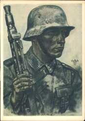 Künstler Ak Willrich, Wolfgang, Ein Kradschütze, Wehrmacht, Maschinengewehr