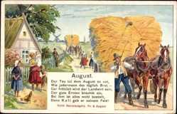 Ak August, Bauernregel, Der Tau tut dem August so not, Strohernte