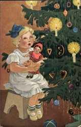 Künstler Ak Schenkel, Franziska, Weihnachtsglück Serie 6 134, Weihnachtsbaum