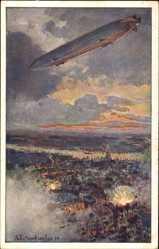 Künstler Ak Eckenbrecher, Th., Zeppelin fliegt über Antwerpen, Bombardierung