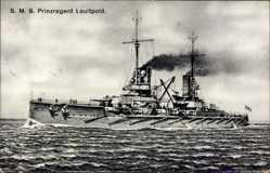 Postcard S.M.S. Prinzregent Luitpold, Deutsches Kriegsschiff, Großlinienschiff