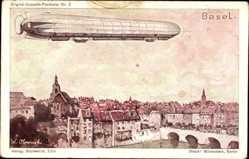 Künstler Ak Obrowski, Bâle Basel Stadt Schweiz, Zeppelin über der Stadt