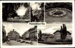 Postcard Hainichen in Sachsen, Park der jungen Pioniere, Blumenuhr, Platz der DSF