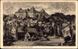 Künstler Ak Augustusburg im Erzgebirge, Blick auf den Ort und das Schloss