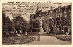 Ak Erfurt in Thüringen, Blick auf das Kaiser Wilhelm Denkmal, Reiterstandbild