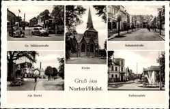 Postcard Nortorf in Holstein, Mühlenstraße, Kirche, Rathausplatz, Markt