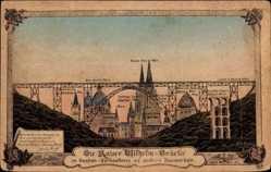 Künstler Ak Wuppertal in Westfalen, Kaiser Wilhelm Brücke, Größenvergleich