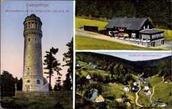 Ak Pieszyce Schlesien Eulengebirge, Bismarckturm, Schwarzwasser, Eulenbaude