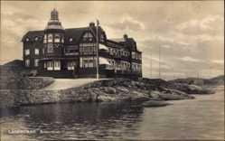 Postcard Langedrag Norwegen, Restauranten, Blick auf ein Restaurant, Meer