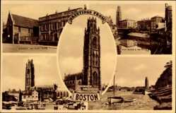 Postcard Boston East Midlands England, Guildhall and Fydell House, St. Botolphs